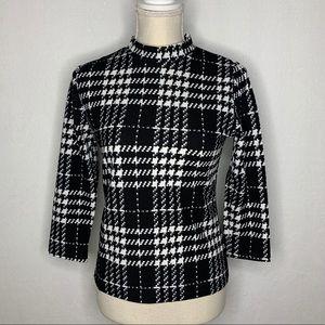 Romwe Mock Neck Plaid Slim Fit Workwear Blouse